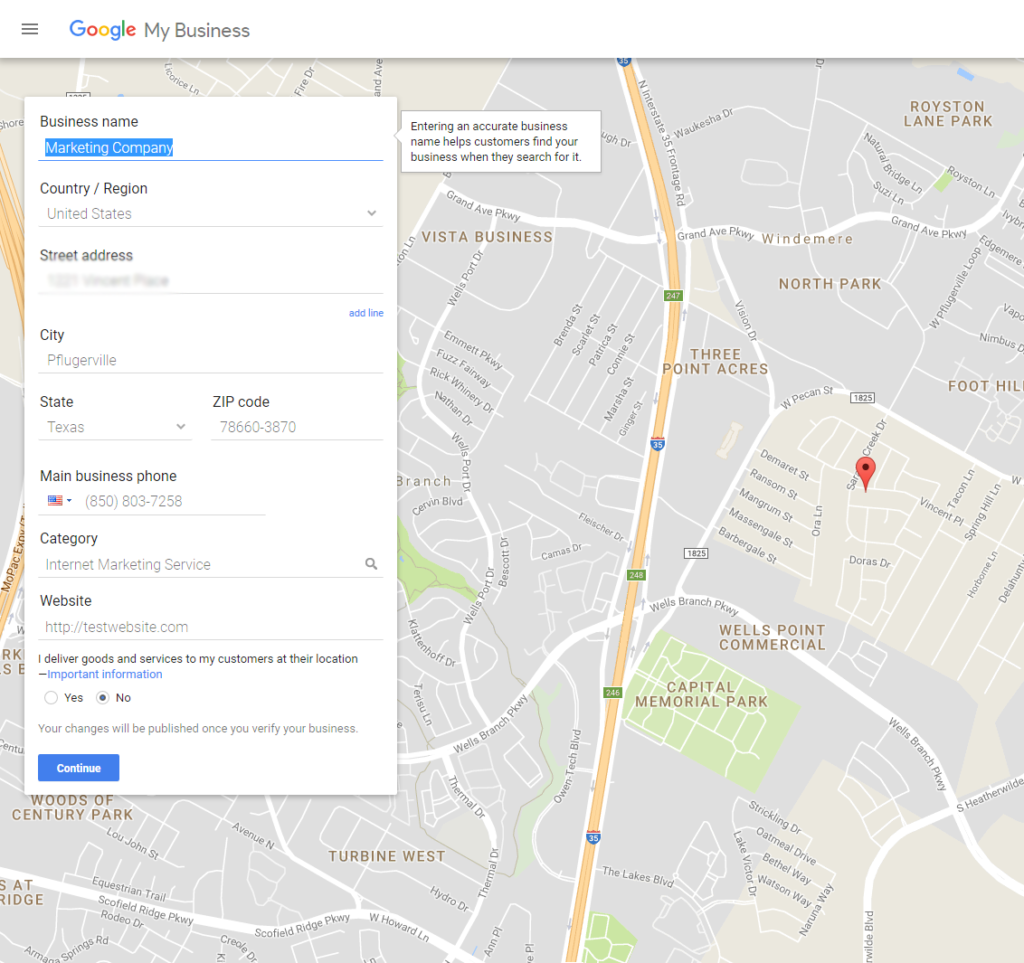 add business to google maps step 2
