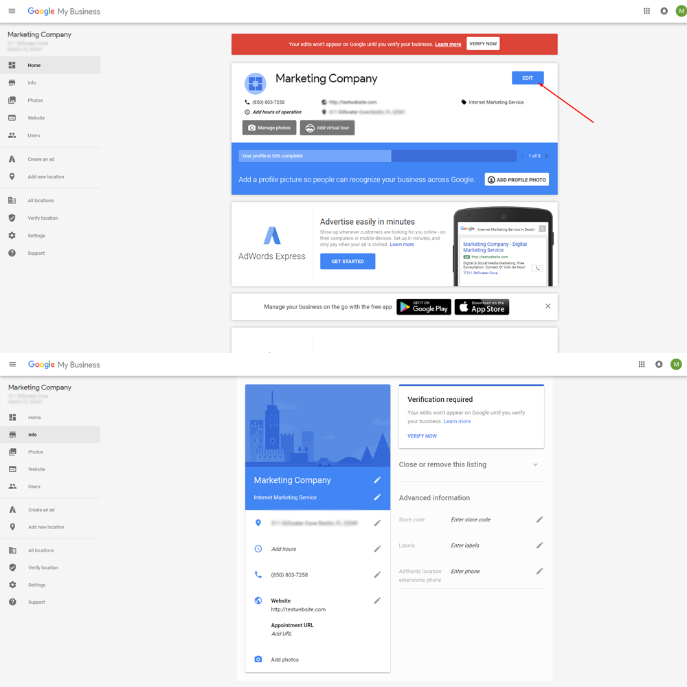 updating google business listing info